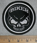 2796 L - Skull Face With Biker In Forehead - Embroidery Patch