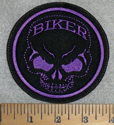 2791 L - Skull Face With Biker In Forehead - Purple - Round - Embroidery Patch