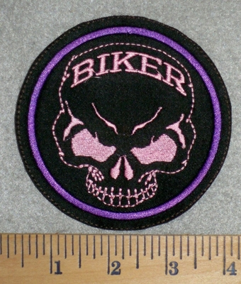 2795 L - Skull Face With Biker On Forehead - Round Patch - Embroidery Patch
