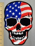 3316 G - American Flag Skull Face - Back Patch - Embroidery Patch