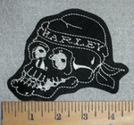 2794 L - Skull Face With Harley Bandana - Embroidery Patch