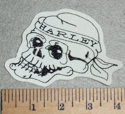 3024 L - Skull Face With Harley Bandana - Embroidery Patch
