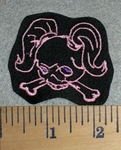 2769 L - Skull Face With Pigtails - Pink - Embroidery Patch