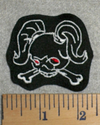 2768 L - Skull Face With Pigtails - Red Eyes - Embroidery Patch