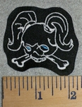 2767 L - Skull Face With Pony Tails -White -  Embroidery Patch