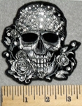 2930 G - Skull Face With Rhinestone Bandana and Roses - Embroidery Patch