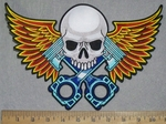 3560 N  - Skull Face With  Golden Tipped Wings And V- Twin Pistons - Back Patch - Embroidery Patch