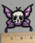 2876 N - Skull Faced Butterfly With Purple Wings - Embroidery Patch