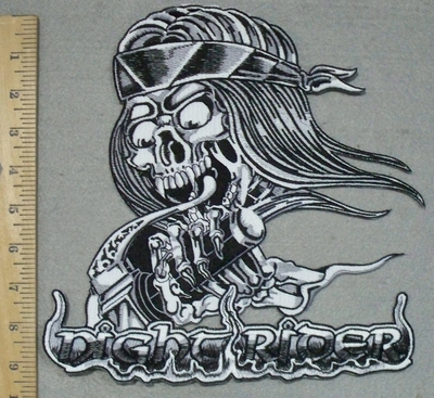 3419 N - Skull Ghost Night Rider - Back Patch - Embroidery Patch