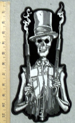 2957 G - Skull Man With Tophat And Two Smoking Shotguns - Back Patch - Embroidery Patch