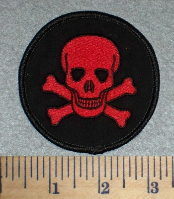 2603 W - Skullface And Crossbones - Round - Red - Embroidery Patch