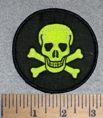 2602 W - Skullface With Crossbones - Round - Neon Green - Embroidery Patch