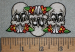 3509 N - Skulls And Daisies - Embroidery Patch
