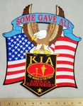 2961 G - discontinued Some Gave All Banner  With AMerican Flag - American Eagle - KIA Banner - Back Patch - Embroidery Patch