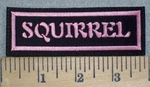 3249 L - Squirrel - Pink - Embroidery Patch