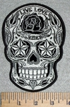 3142 G - Starry Eyed Sugar Skull Face With Roses - Live - Love - Ride - Embroidery Patch