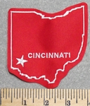 2890 L - State Of Ohio With Cincinnati - Red - Embroidery Patch