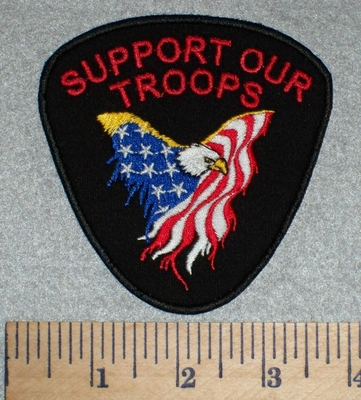 2607 N - Support Our Troops - American Eagle Surrounded By American Flag - Embroidery Patch