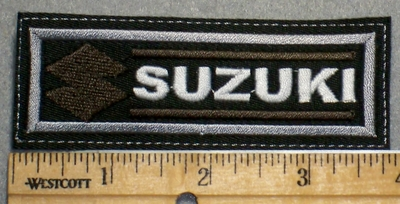 2231 L - Suzuki With Logo - Brown - Embroidery Patch