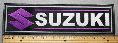 2289 L - Suzuki With Logo - Purple - 11 Inch Straight - Embroidery Patch