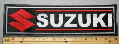 2288 L - Suzuki With Logo - Red - 11 Inch Straight -  Embroidery Patch