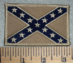 2609 W - Tan Confederate Flag - Embroidery Patch