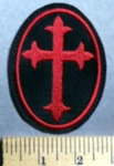 753 L - Celtic Cross - Maroon - Oval - Embroidery Patch