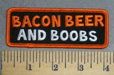 527 G - Bacon Beer And Boobs - Embroidery Patch
