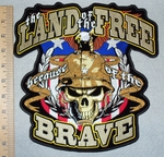3146 G - The Land Of The Free Because Of The Brave - American Flag Shield With Eagle And Military  Skull Face - Back Patch  - Embroidery Patch