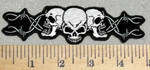 2937 G - Three Skull Face With Barb Wire - 5 Inch - Embroidery Patch
