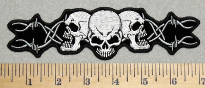 2936 G - Three Skull Face With Barb Wire - 7 Inch - Embroidery Patch