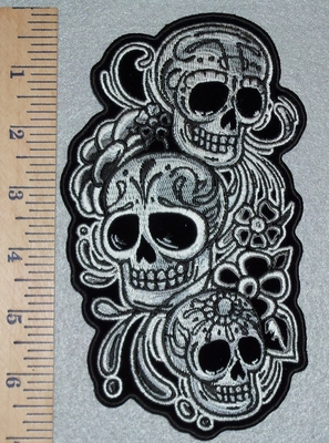 3019 G  - Three Vertical Skull Face With Flowers - Back Patch - Embroidery Patch
