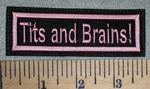 2634 L - Tits And Brains! Pink - Embroidery Patch