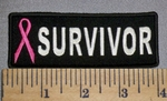 318 CP - Survivor With Pink Ribbon - Embroidery Patch