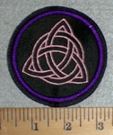 3335 L - Triquetra - Pink - Round - Embroidery PAtch