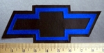 785 L - Chevy Bow Tie - 8 Inch - Royal Blue  -  Embroidery Patch