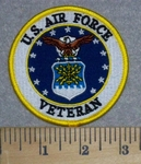 3273 W - U.S. Air Force Veteran With Logo - Round - Embroidery Patch