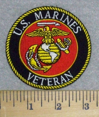 3271 G - U.S. Marines Veteran With Logo - Round - Embroidery Patch