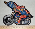 3076 G - discont-ncle Sam With USA Falg And Motorcyle - Back Patch - Embroidery Patch