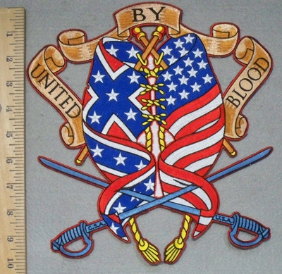 3421 N - United by Blood - American Flag And Confederate Flag Woven Together - 2 Swords - Back Patch - Embroidery Patch