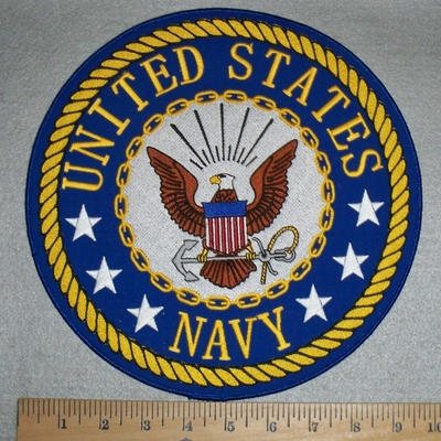 2922 W - United States Navy Round Back Patch With Logo - Embroidery Patch