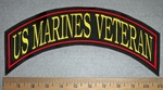 2823 L - US Marines Veteran - Red - Yellow - Top rocker - Embroidery Patch