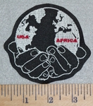 3129 N - USA - AFRICA - World In Hands - Embroidery Patch