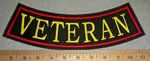 2883 L - Veteran - Yellow - Red Border - Bottom Rocker - Embroidery Patch