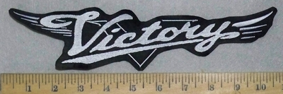 3551 L - Victory Motorcycle Logo With Wings - White - Embroidery Patch
