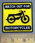 4920 C - Watch Out For Motorcycles - Motorcycle -Yellow - Embroidery Patch