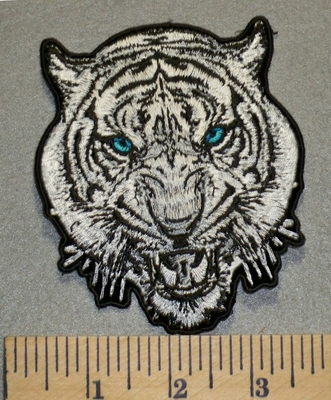 2460 G - White Tiger Face With Blue Eyes - 4 Inch - Embroidery Patch