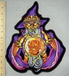 3285 G - DISCONTINUED  Wizard With  Skull Image In Crystal Ball - Back Patch - Embroidery Patch