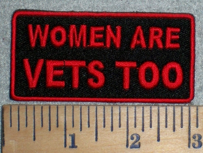 3341 W - Women Are Vets Too - Red - Embroidery Patch