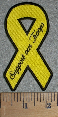 3225 G - Yellow Ribbon - Support Our Troops - Embroidery Patch